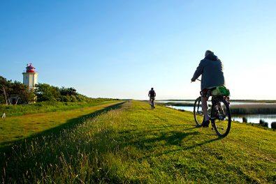 Schleswig-Holstein. Ostseeinsel Fehmarn. Fahrradfahrer auf dem Deich in Westermarkeldorf am Leuchtturm.