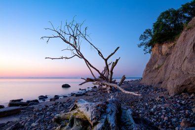 Schleswig-Holstein, Luebecker Bucht, Naturstrand am Brodtener Steilufer. Dämmerung kurz vor dem Sonnenaufgang