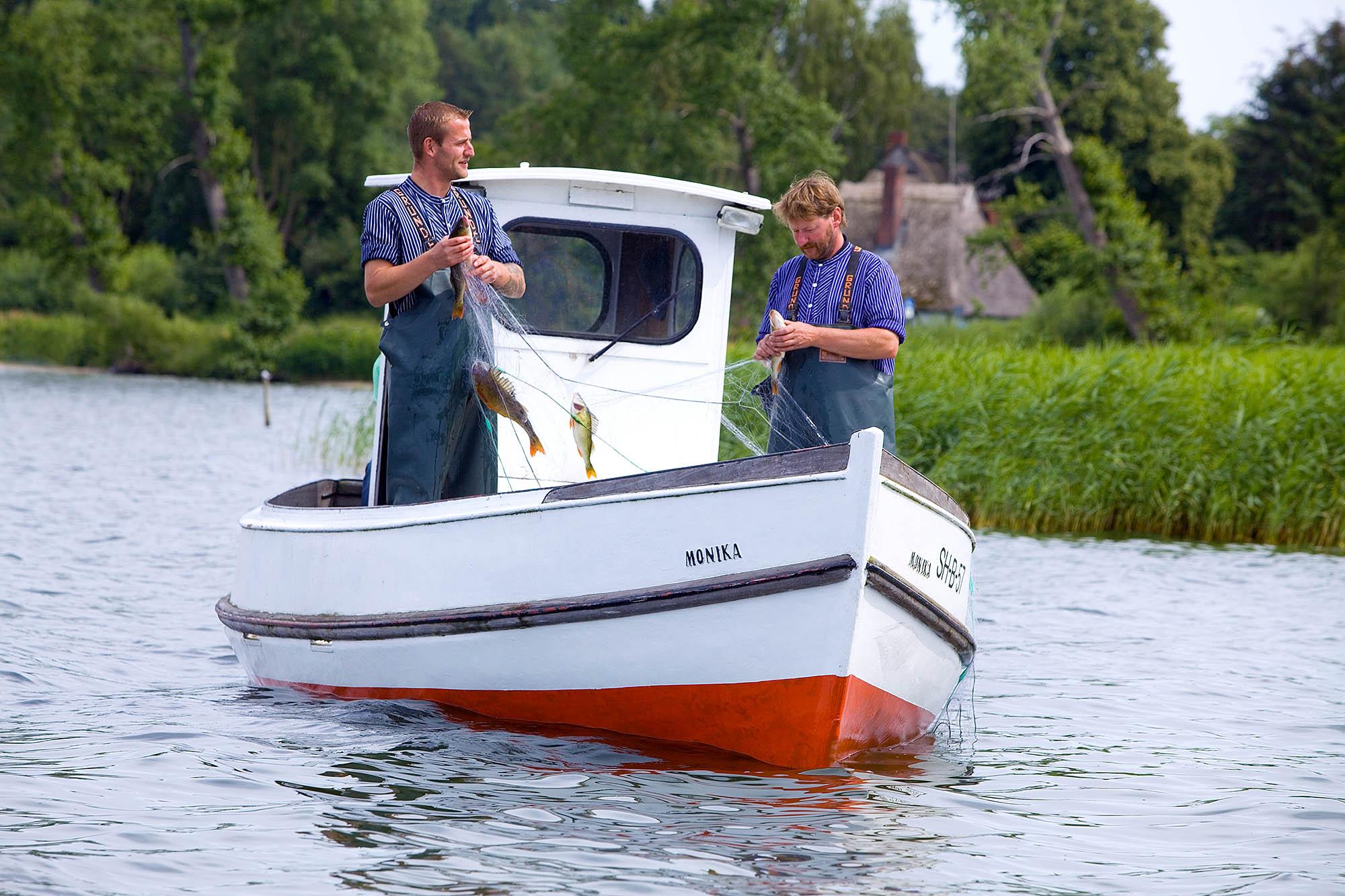Schleswig-Holstein, Selenter See,  Berufsfischer beim Fischfang